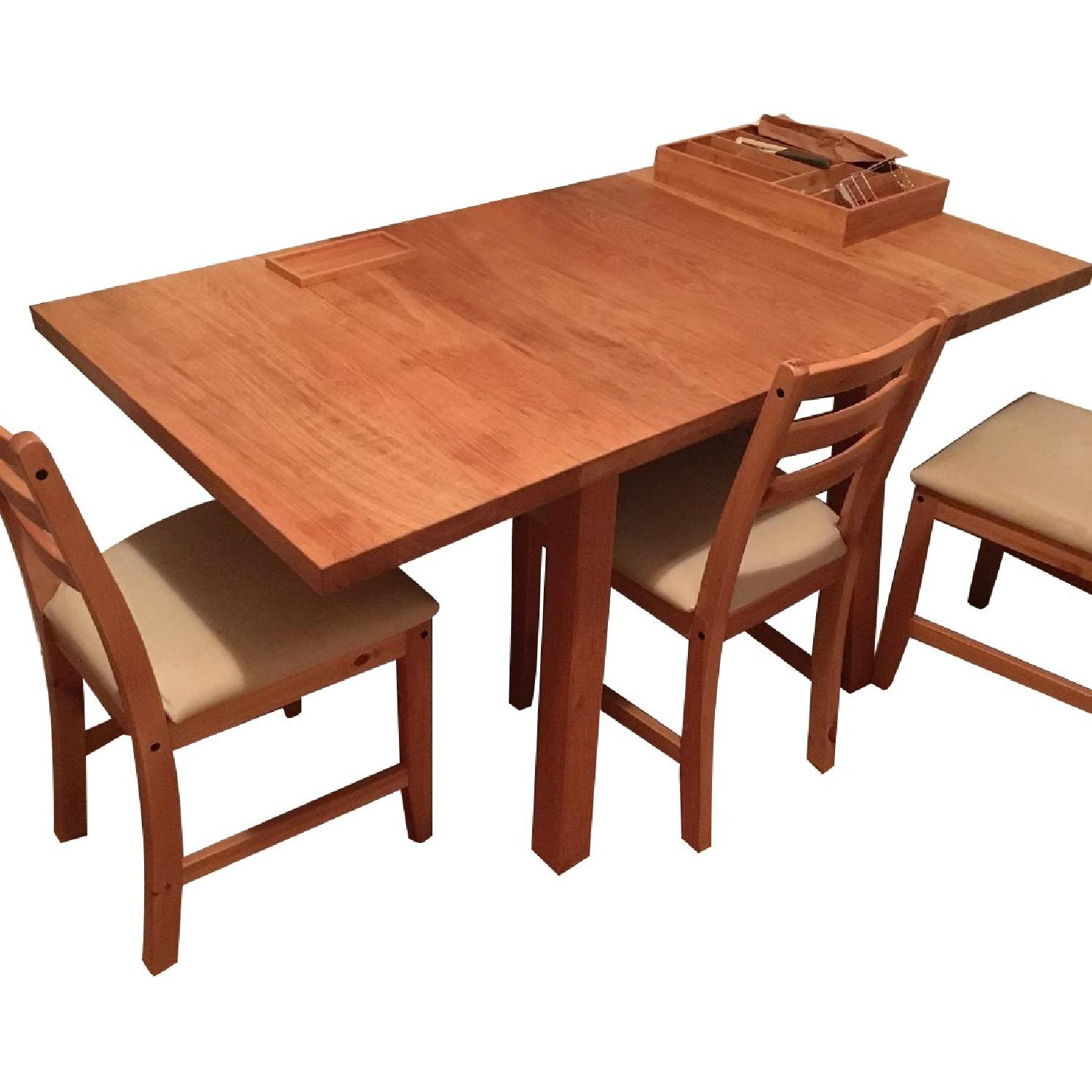 Ikea Solid Oak Wood Drop Leaf Dining Table W/ 4 Chairs ...