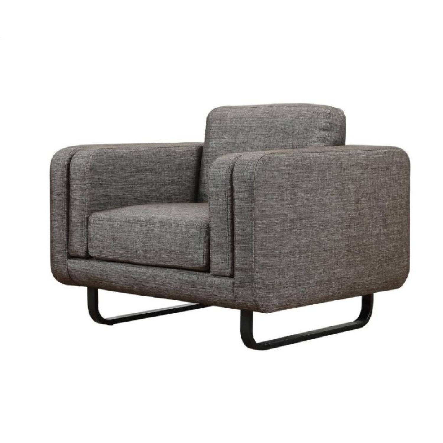 Contemporary Accent Chair in Dark Brown Woven Fabric