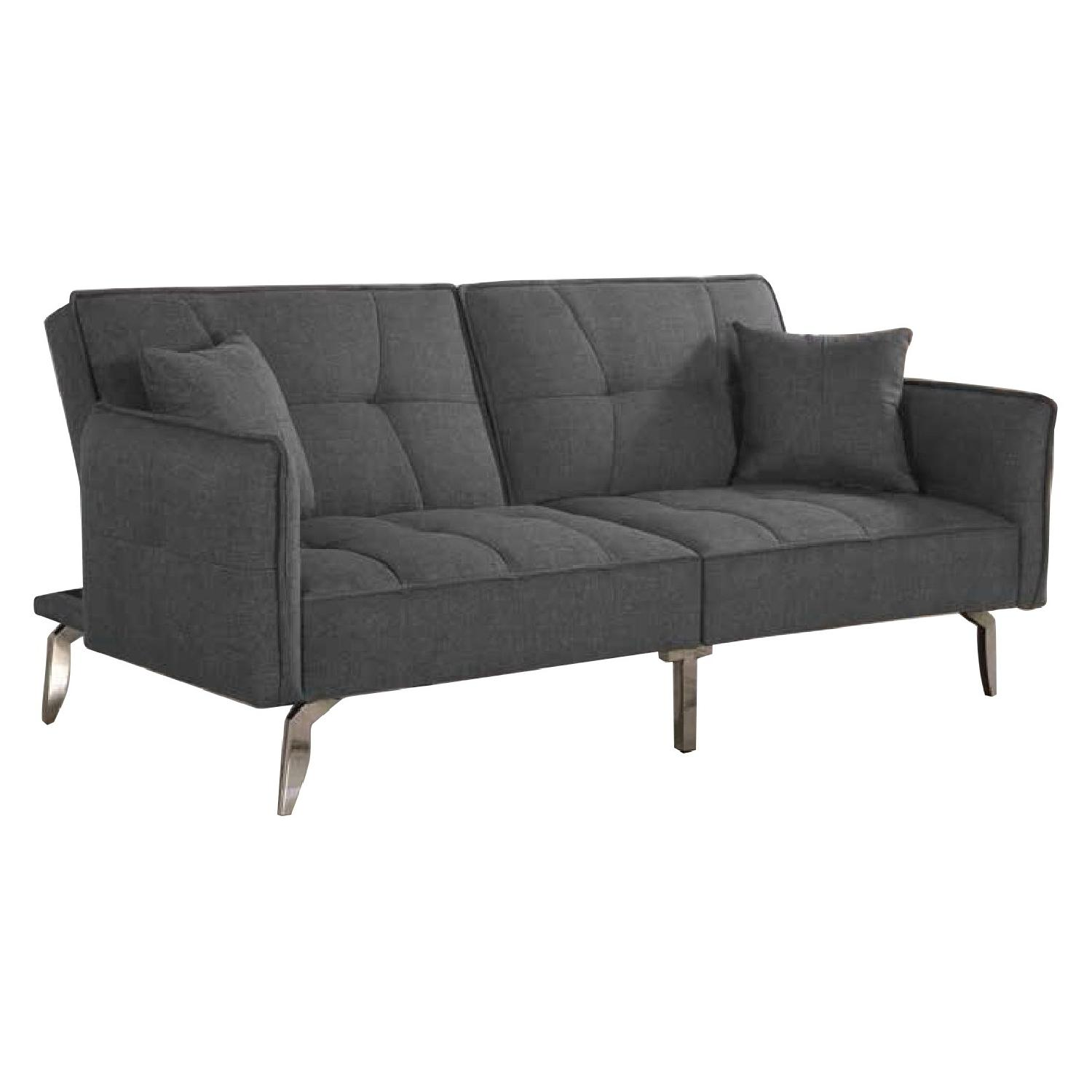 Modern Sofabed in Dark Grey Fabric/Chrome Legs