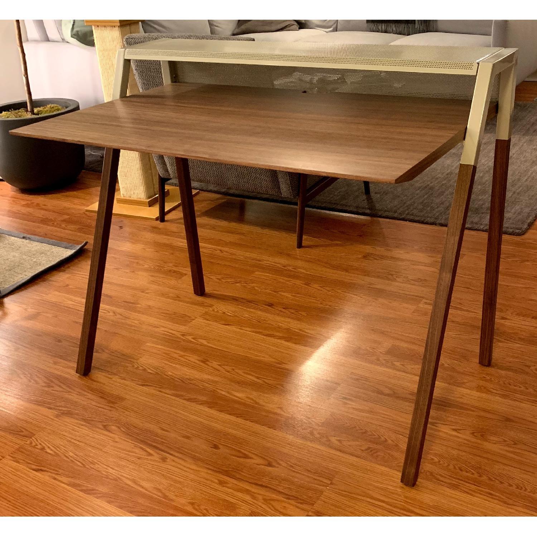 Blue Dot Cant Desk in Walnut/Grey-0