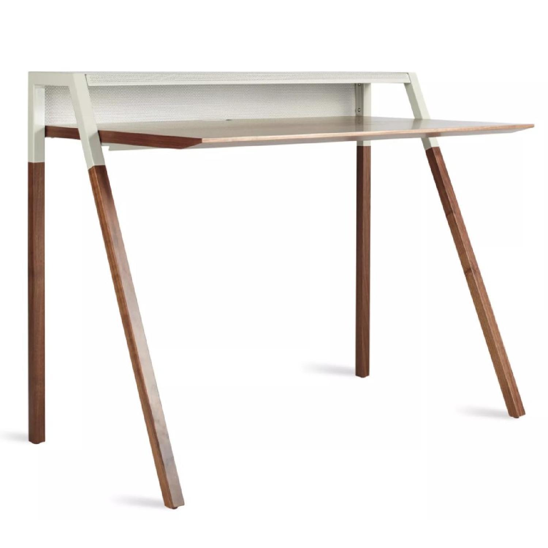 Blue Dot Cant Desk in Walnut/Grey