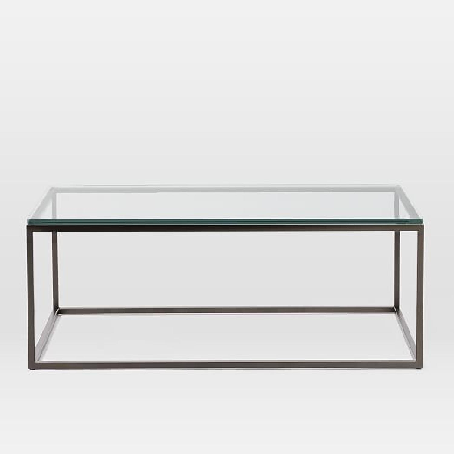 West Elm Box Frame Coffee Table In GlassAntique Bronze AptDeco - West elm geometric coffee table