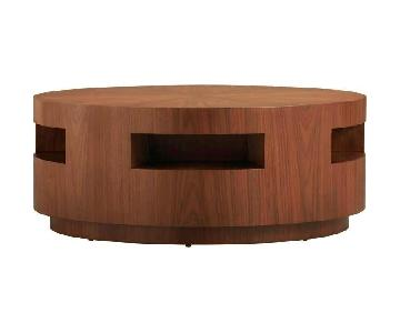 Crate & Barrel Round Wood/Glass Coffee Table