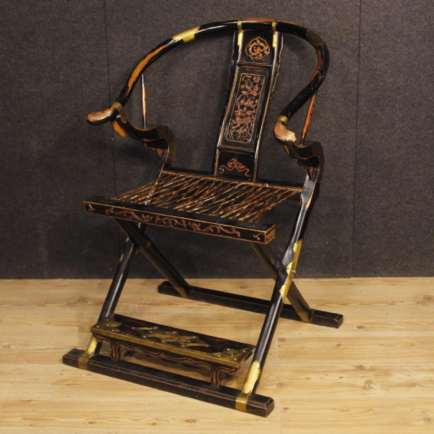 20th Century 1950 Painted Wood Gilt Brass Chinese Armchair