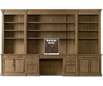 Restoration Hardware Library Desk Wall Unit in Brown Oak