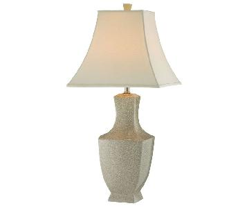 Raymour & Flanigan Honora Ivory Crackle Ceramic Lamps