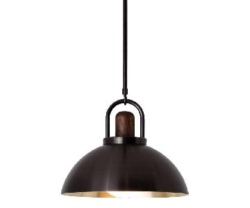 Allied Maker Brass & Black Walnut Arc Ceiling Lamp