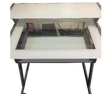 Glass Top Computer Cart