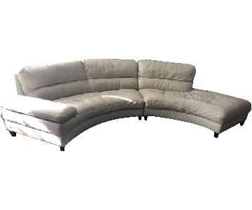 Raymour & Flanigan Cream Leather 2-Piece Sectional Sofa