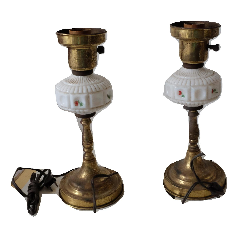 Vintage Glass & Metal Table Lamps-6