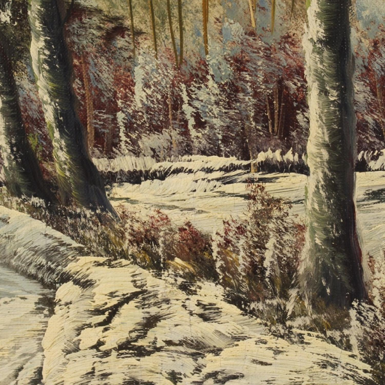 20th Century Oil On Canvas Dutch Snowy Landscape Painting