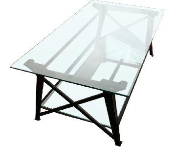 Pottery Barn Iron & Glass Coffee Table w/ Glass Shelf