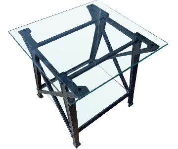 Pottery Barn Iron & Glass Side Table