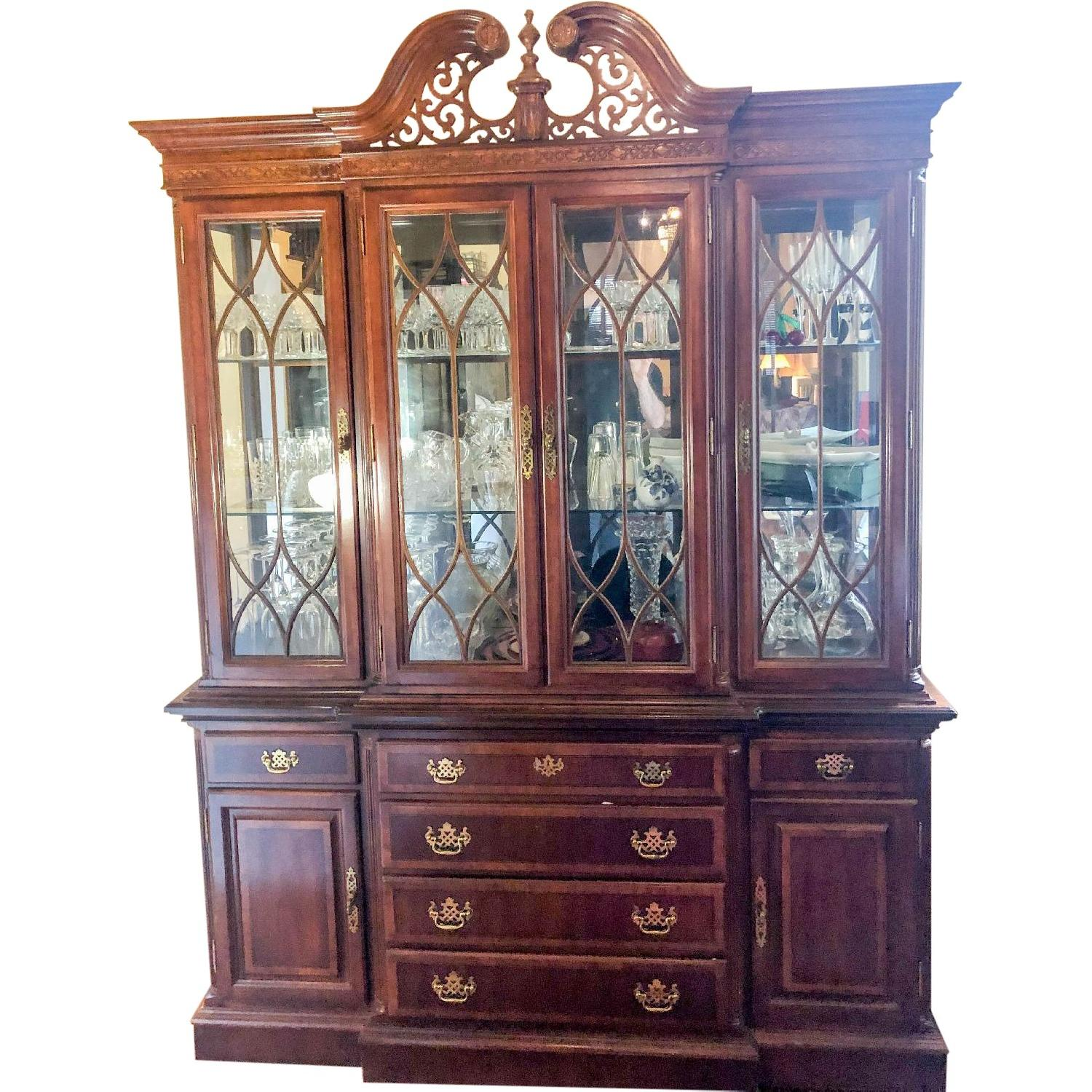 Chippendale Style Lighted Breakfront China Cabinet