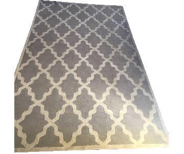 Light Grey Lattice Pattern Rug