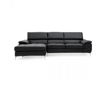 Mobilia Kayla Black Leather Sectional Sofa