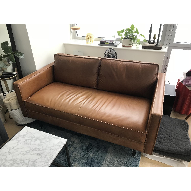 West Elm Axel Leather Sofa - image-1