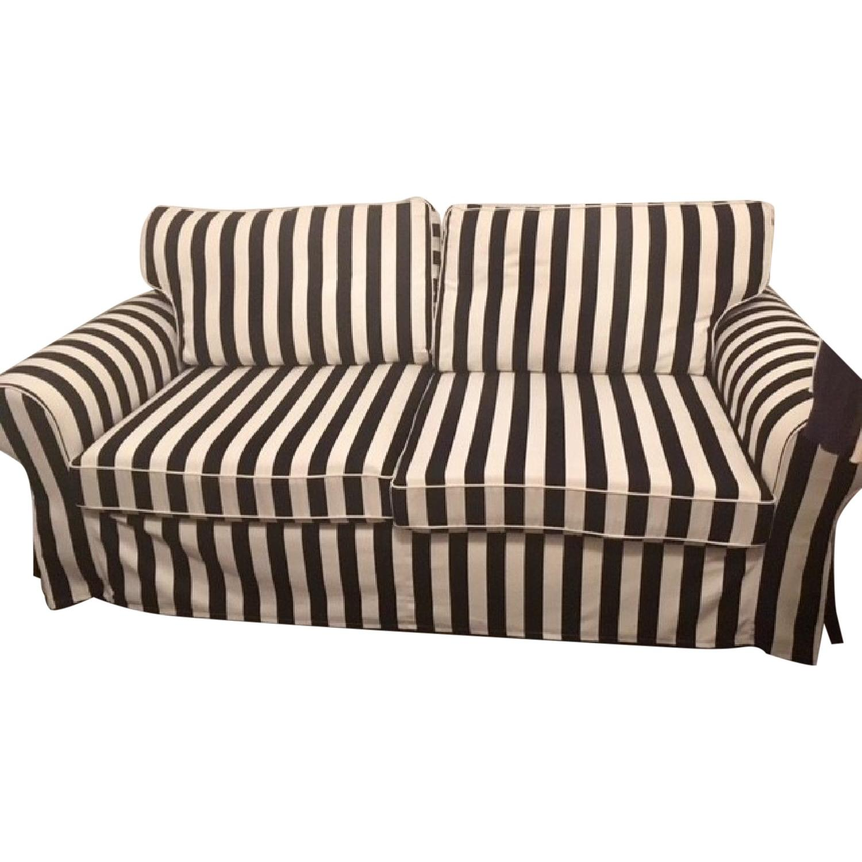 Ikea Ektorp Sleeper Sofa w/ Black & White Striped Slipcover