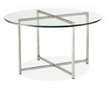 Room & Board Classic Coffee Table in Glass & Stainless Steel