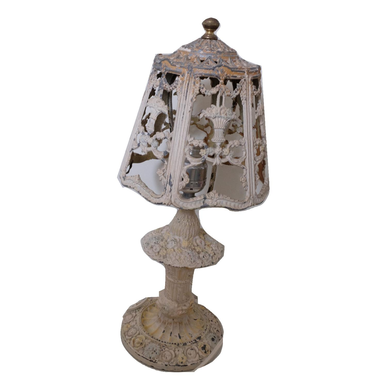 Vintage Cast Iron Shabby Chic White Table Lamp - image-0