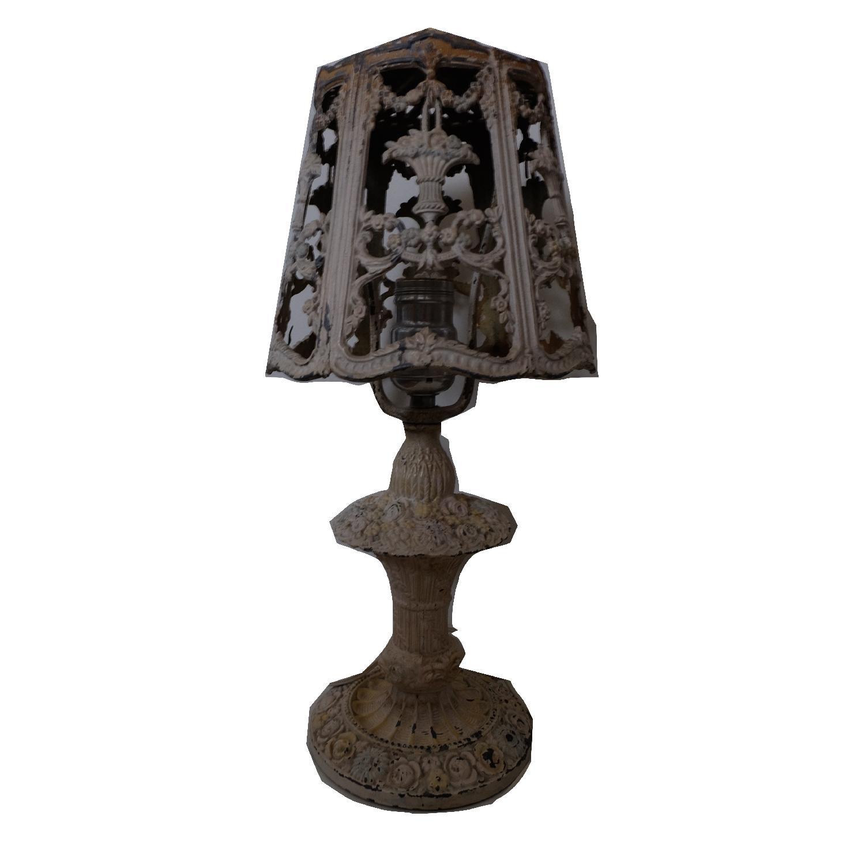 Vintage Cast Iron Shabby Chic White Table Lamp - image-1