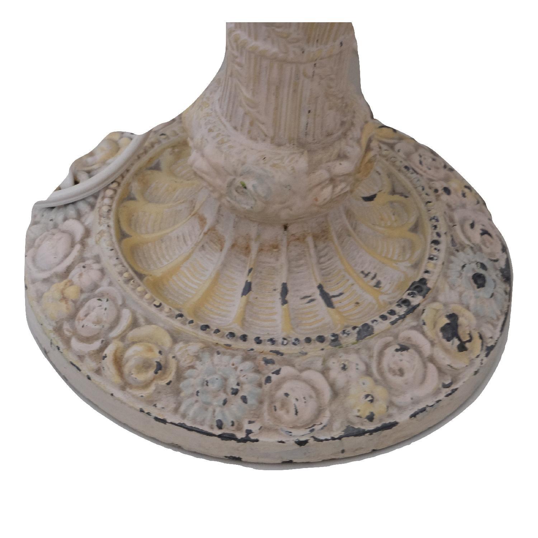 Vintage Cast Iron Shabby Chic White Table Lamp - image-3