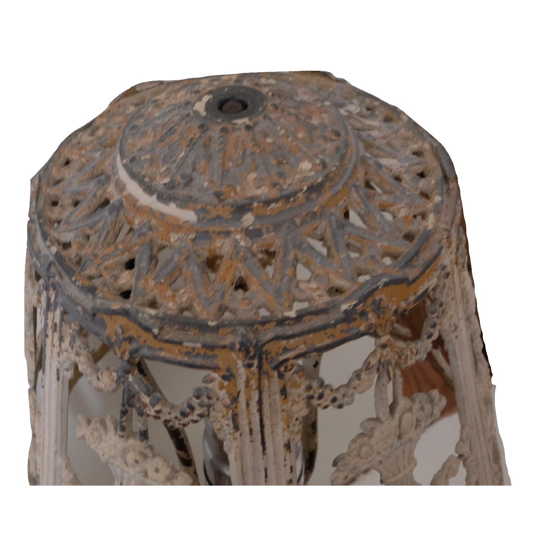Vintage Cast Iron Shabby Chic White Table Lamp - image-5