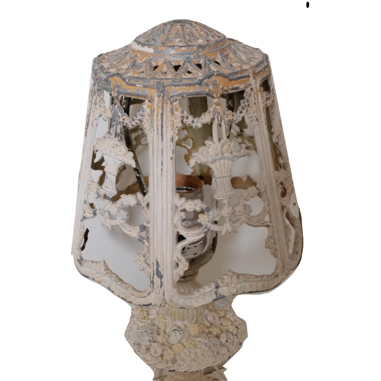 Vintage Cast Iron Shabby Chic White Table Lamp - image-6