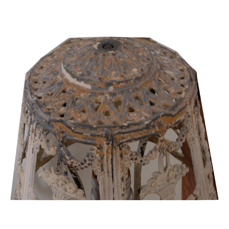 Vintage Cast Iron Shabby Chic White Table Lamp - image-7
