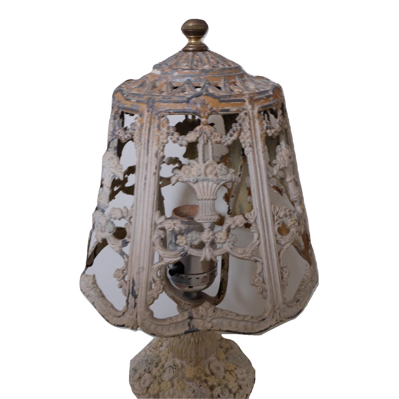 Vintage Cast Iron Shabby Chic White Table Lamp - image-8