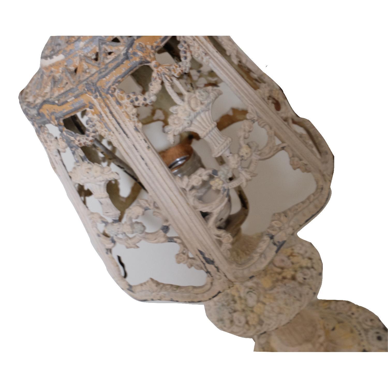 Vintage Cast Iron Shabby Chic White Table Lamp - image-9