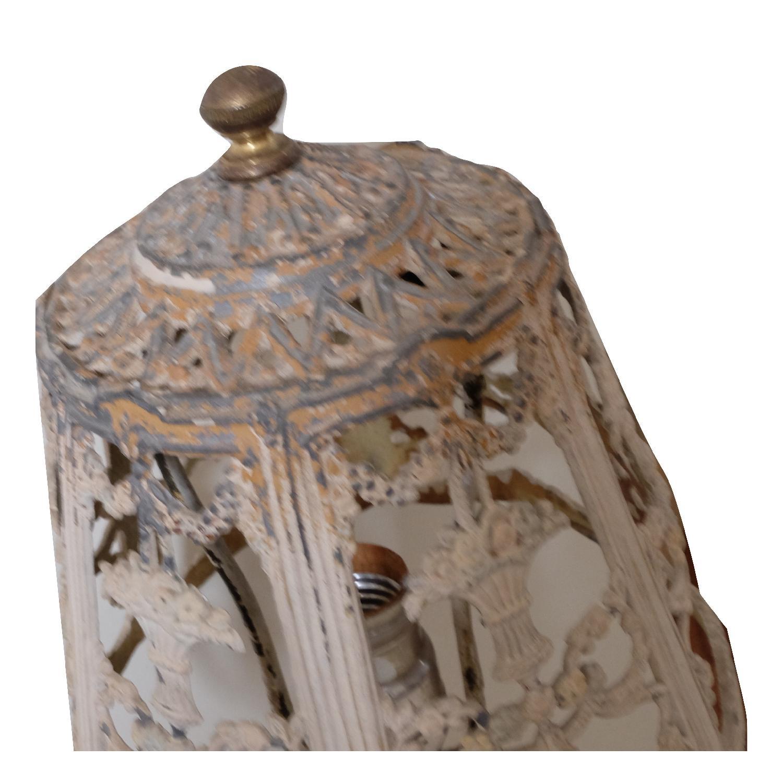 Vintage Cast Iron Shabby Chic White Table Lamp - image-10