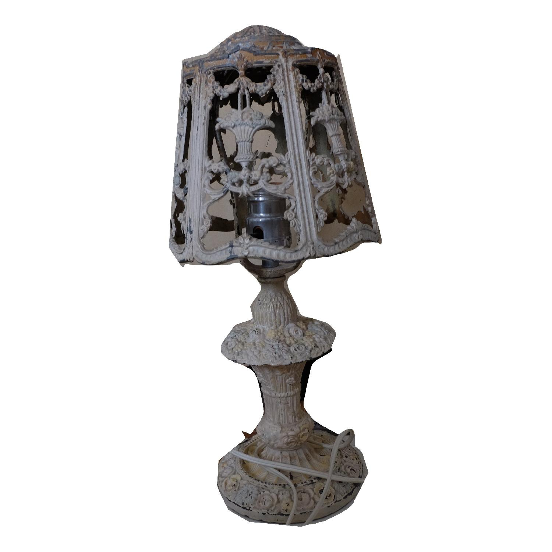 Vintage Cast Iron Shabby Chic White Table Lamp - image-11