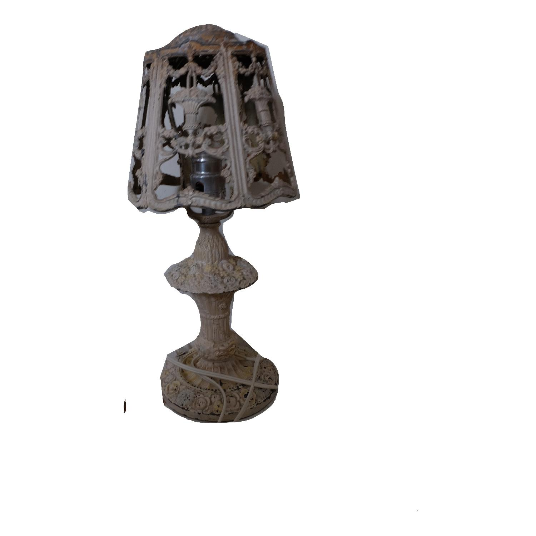 Vintage Cast Iron Shabby Chic White Table Lamp - image-12