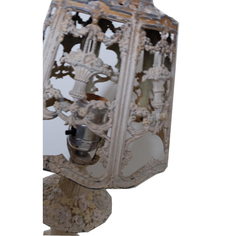 Vintage Cast Iron Shabby Chic White Table Lamp - image-13