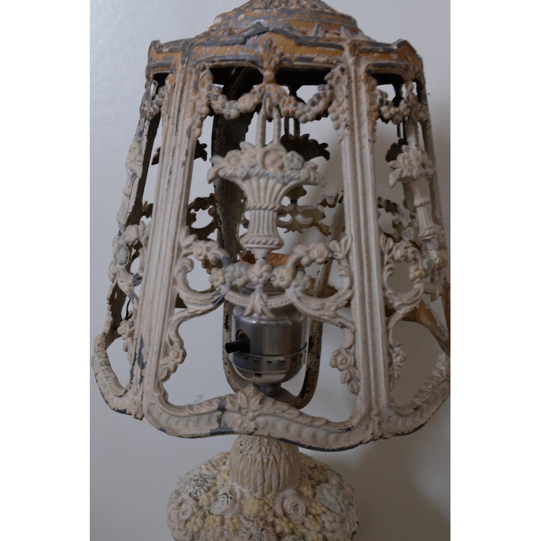 Vintage Cast Iron Shabby Chic White Table Lamp - image-14