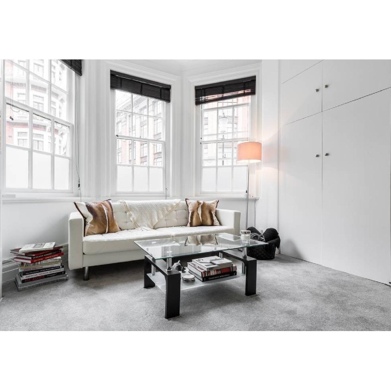 ... Ikea White Leather Modern Sofa 0 ...