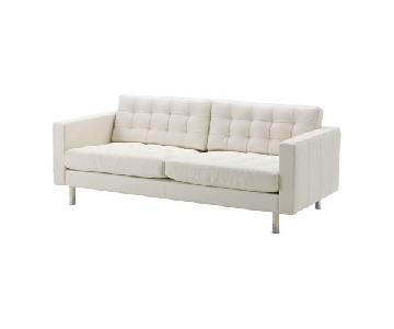 Ikea White Leather Modern Sofa
