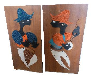 Vintage Mid Century Mod Wood Wall Art
