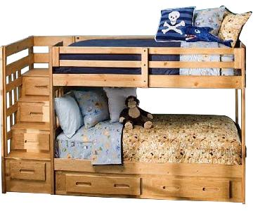 Raymour & Flanigan Twin-on-Twin Stair Bunk Bed w/ Storage