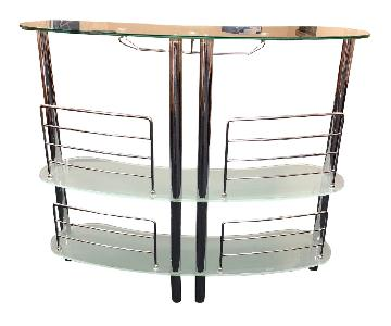 Modern Chrome & Glass Bar