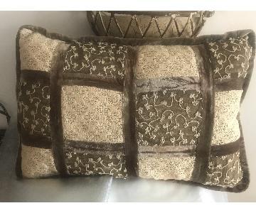 Zuzka Mixed Media Beige Velvet w/ Embroidery Throw Pillow