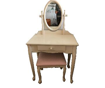 White Vanity w/ Mirror & Pink Stool