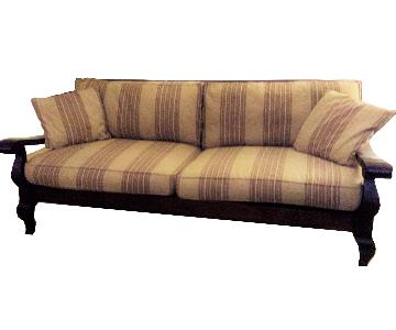 Crate & Barrel Carved Wood Frame Sofa + Chair