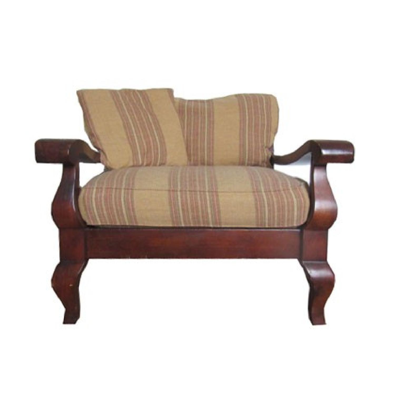 crate barrel carved wood frame sofa chair 10 - Wood Frame Sofa