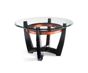 Raymour & Flanigan Round Glass & Wood Coffee Table