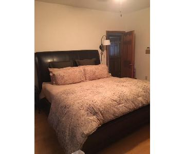 Belmont King Leather and Wood Bed Frame