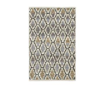 West Elm Modern Stairstep Neutral Gray Jute Rug in Platinum