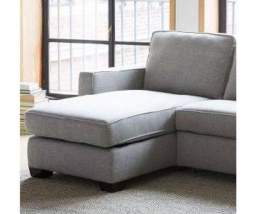 West Elm Henry Right Arm Chaise w/ Storage in Dove Gray