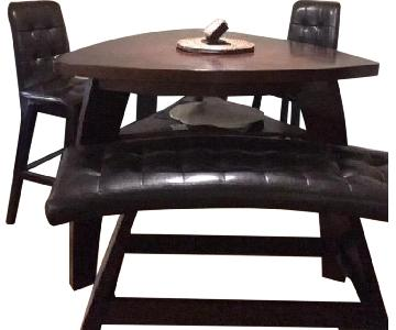 Triangular Bar Height Dining Table w/ 2 Chairs + 1 Bench